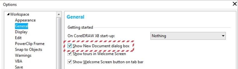 New-document-dialog-box
